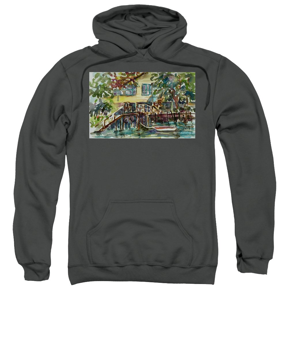 Idyllic Sweatshirt featuring the painting Yellow House By The River by Xueling Zou