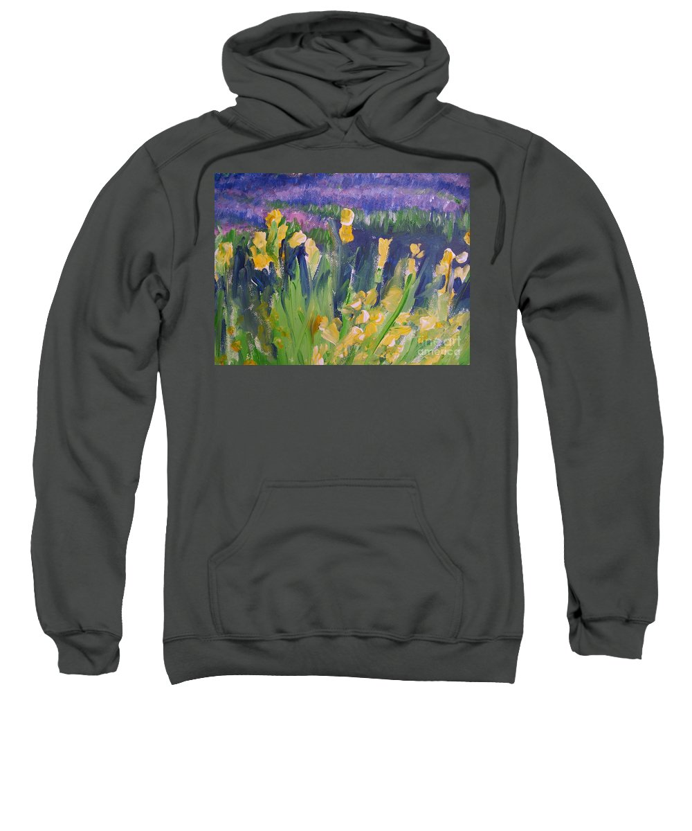 Provence Sweatshirt featuring the painting Yellow Iris by Eric Schiabor