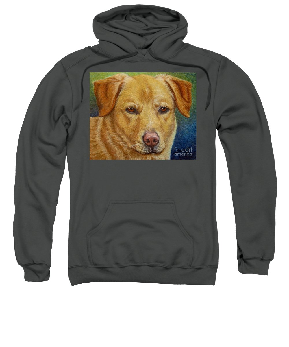 Fuqua - Artwork Sweatshirt featuring the drawing Yellow Lab - Pastel by Beverly Fuqua