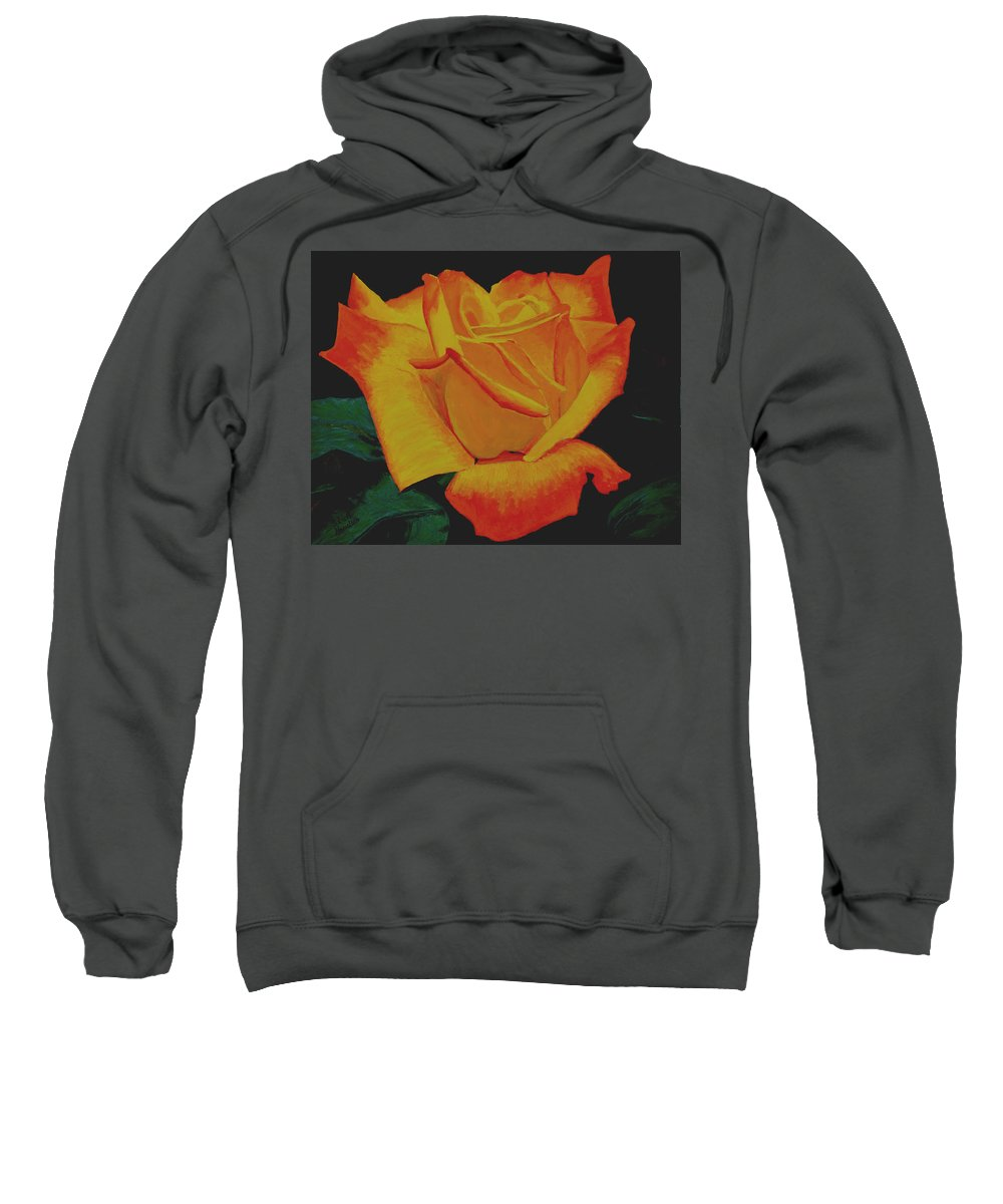 Yellow Rose Sweatshirt featuring the painting Yellow Rose by Stan Hamilton