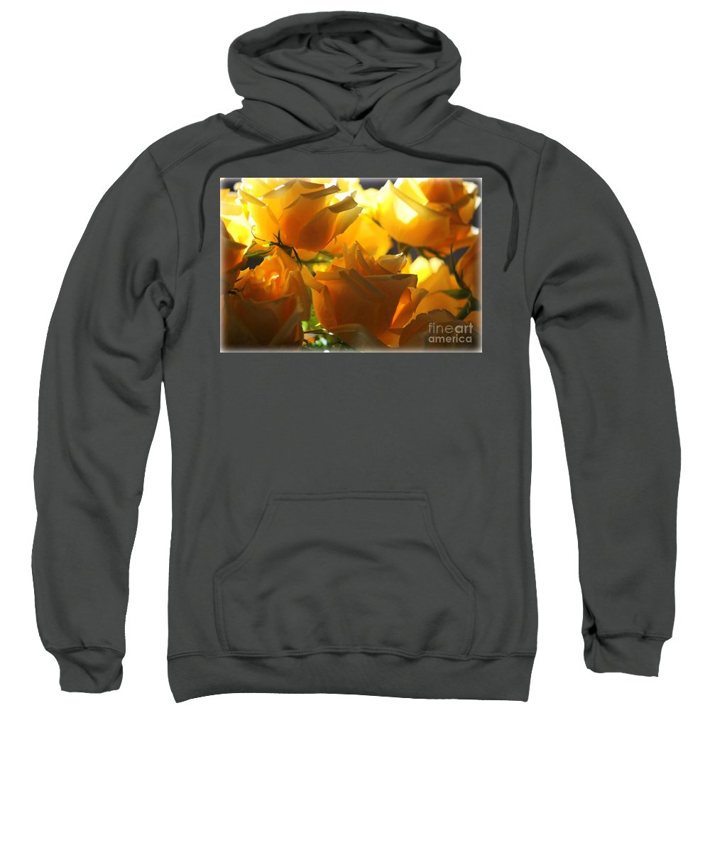 Yellow Roses Sweatshirt featuring the photograph Yellow Roses And Light by Carol Groenen