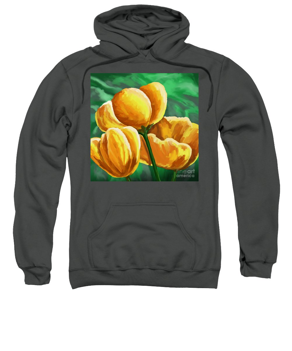 Tulips Sweatshirt featuring the painting Yellow Tulips On Green by Tim Gilliland