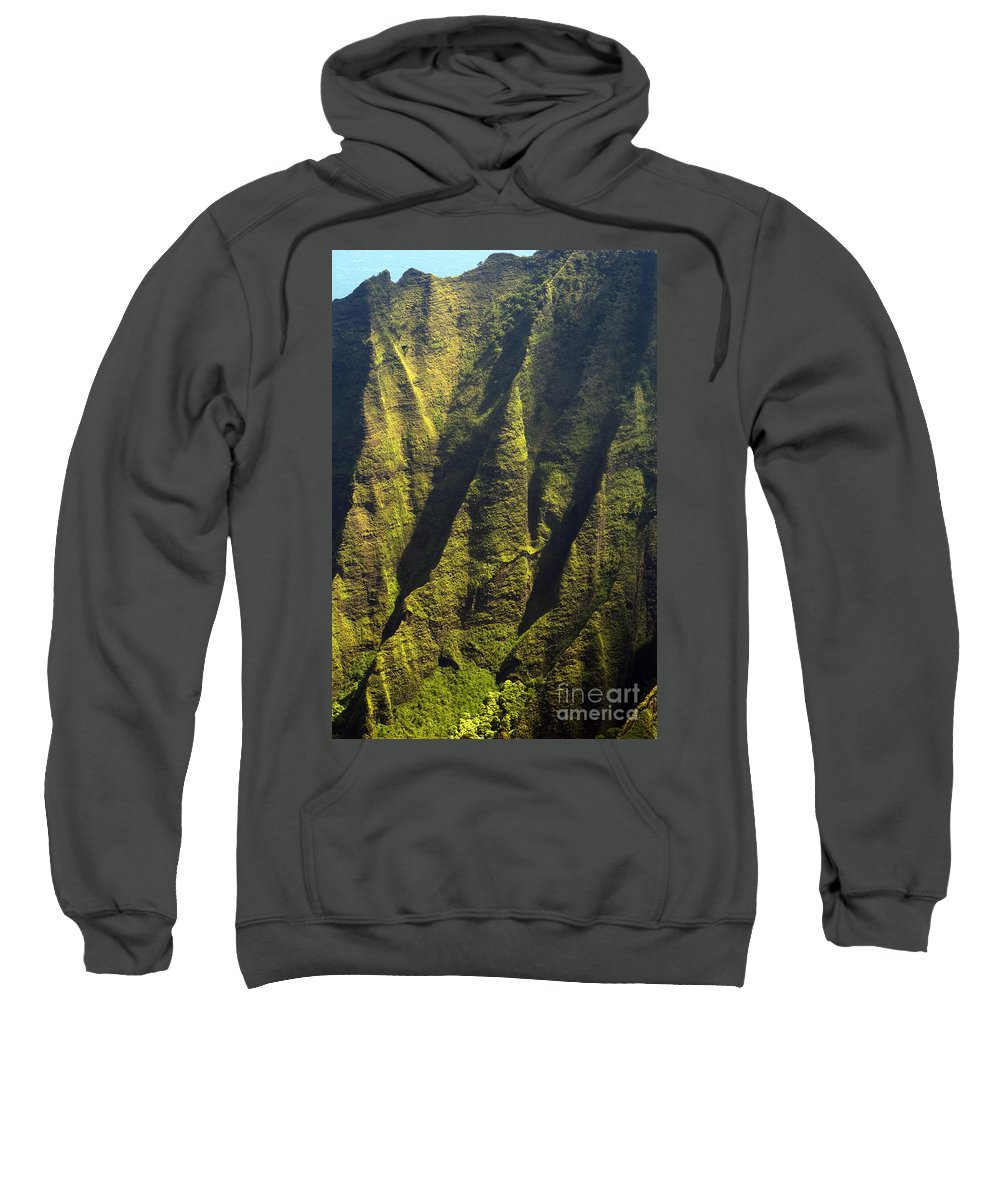 Waimea Canyon State Park Kauai Hawaii Canyons Mountain Mountains Tree Trees Rock Landscape Landscapes Sweatshirt featuring the photograph Yellows And Greens by Bob Phillips