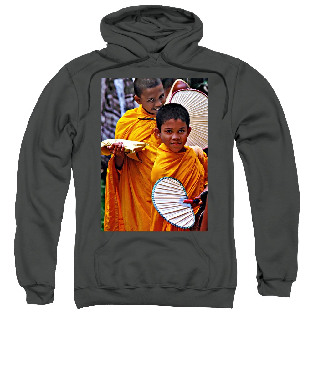Buddhism Sweatshirt featuring the photograph Young Monks by Steve Harrington