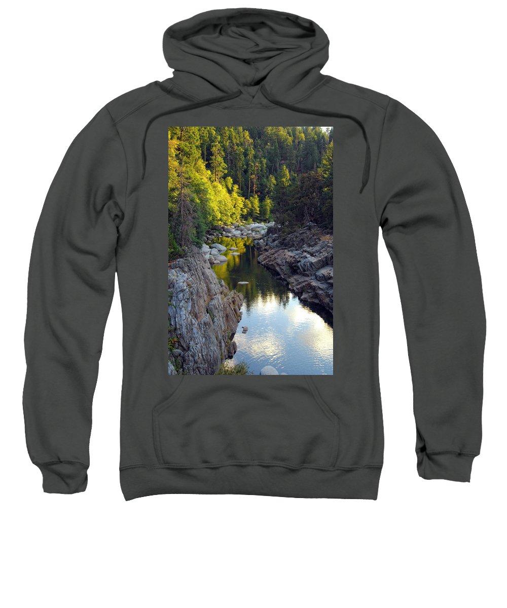 Yuba River Sweatshirt featuring the photograph Yuba River Twilight by Donna Blackhall