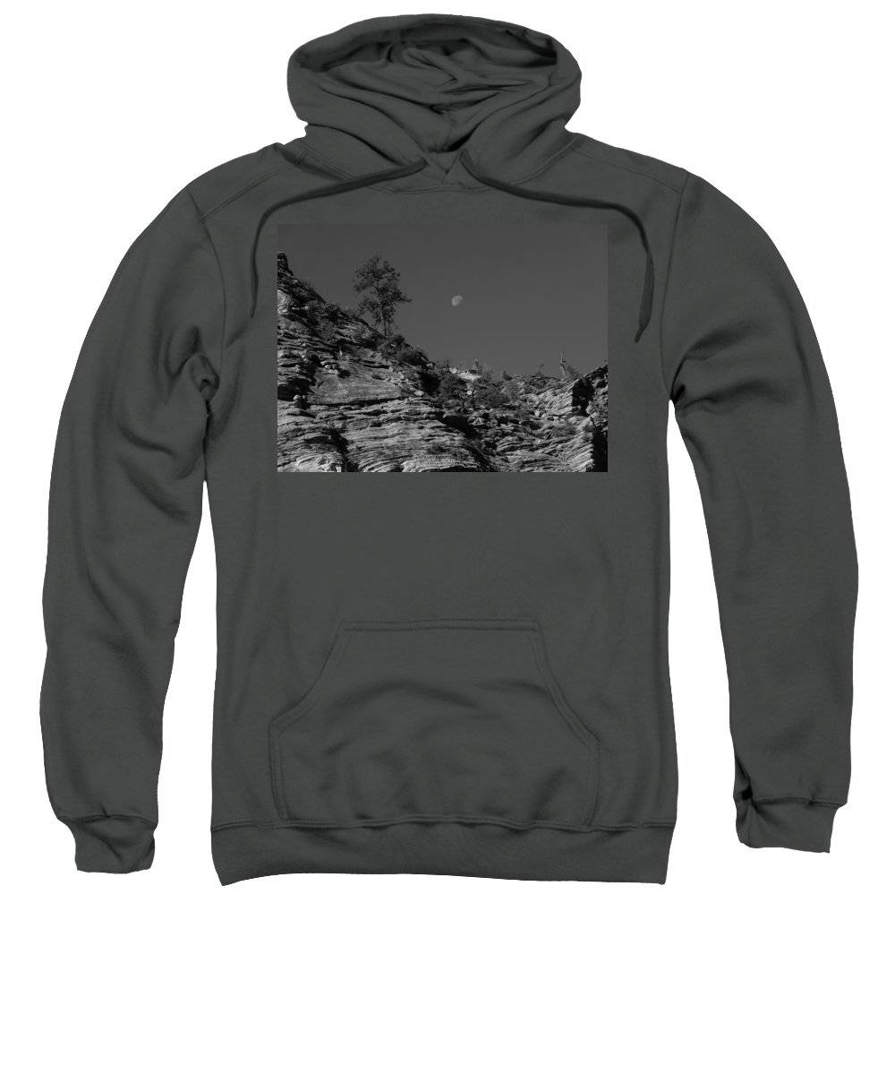 Zion National Park And Moon In Black And White Sweatshirt featuring the photograph Zion National Park And Moon In Black And White by Dan Sproul