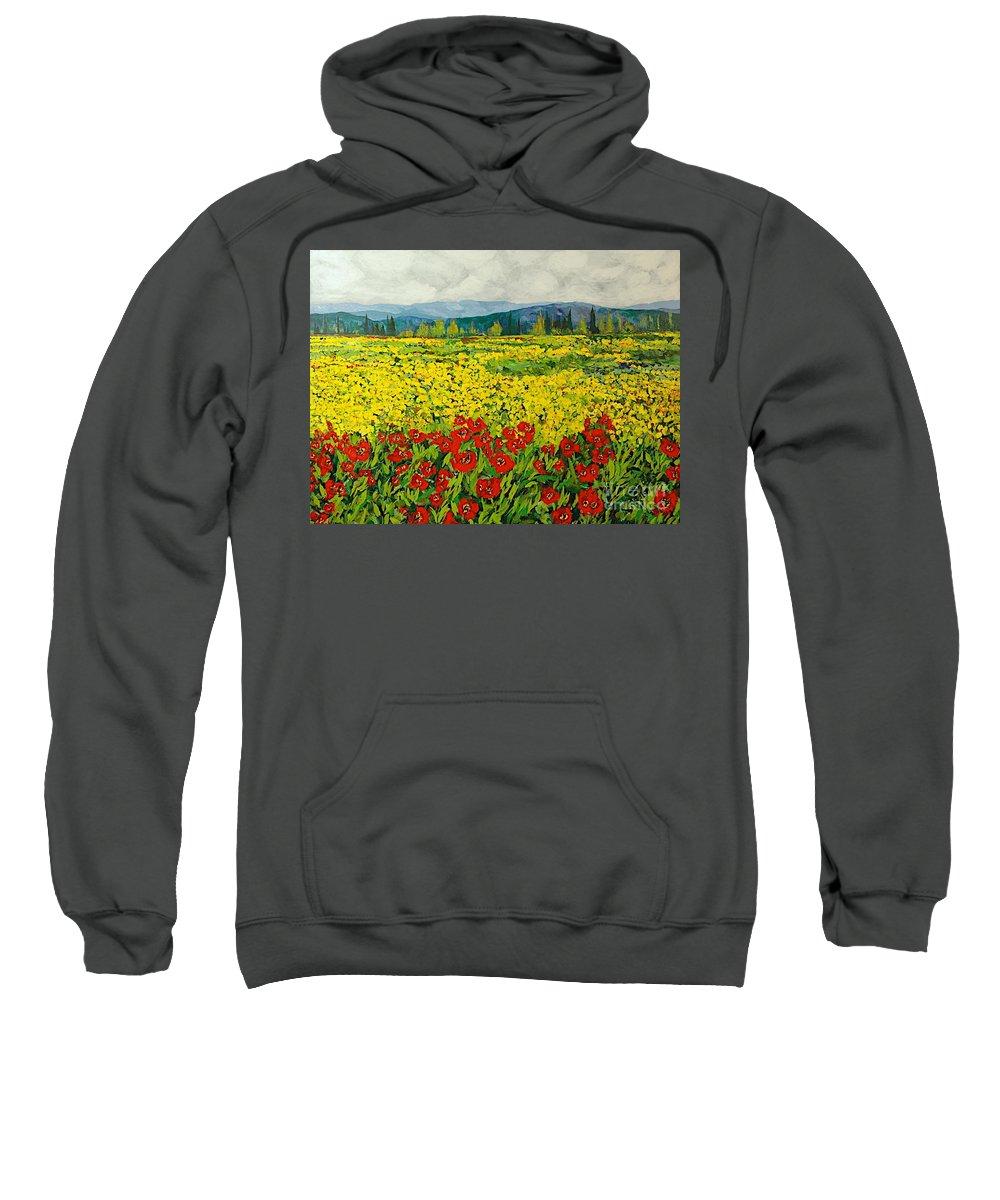 Landscape Sweatshirt featuring the painting Zone Des Fleur by Allan P Friedlander