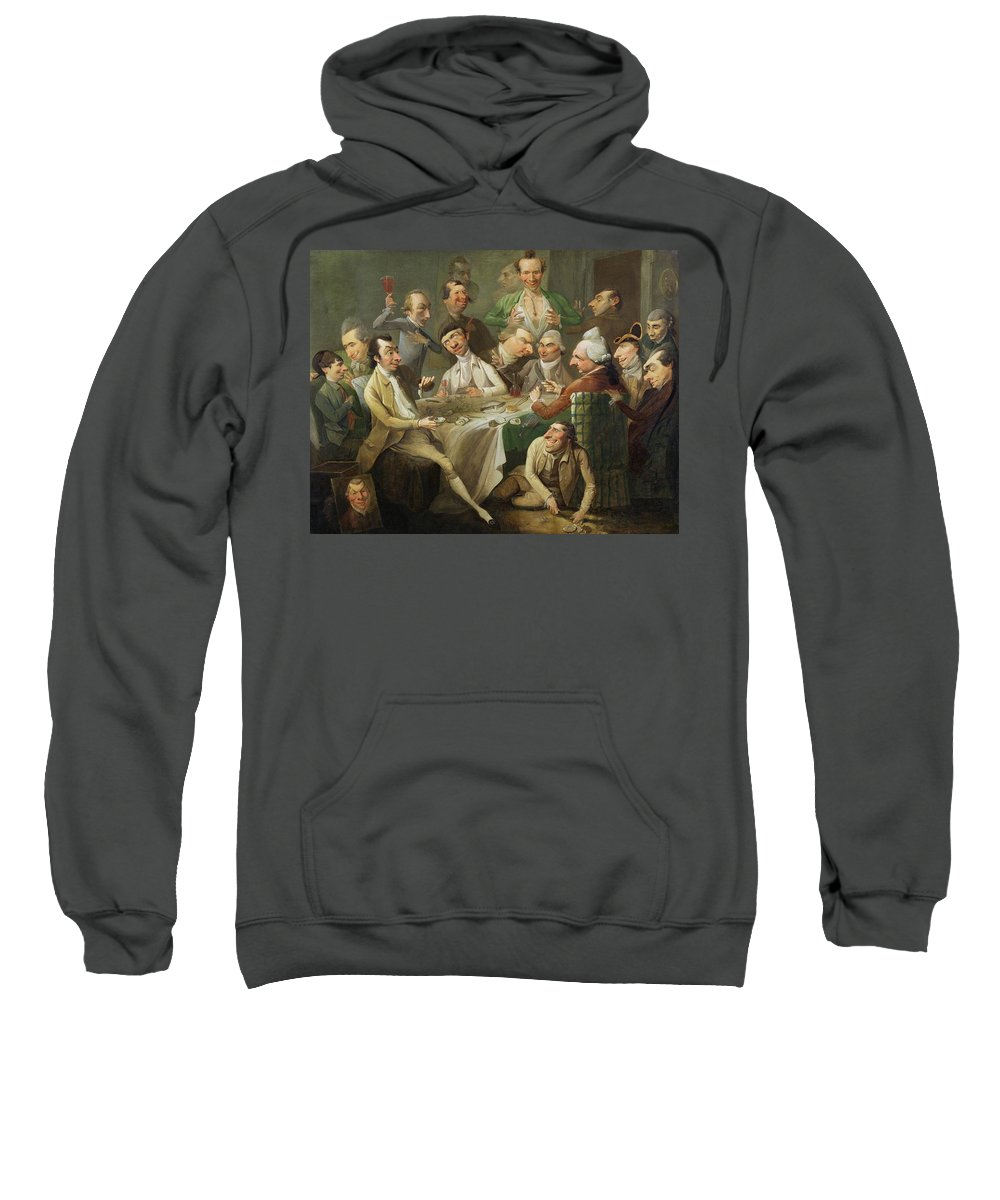 Xyc146046 Sweatshirt featuring the photograph A Caricature Group by John Hamilton Mortimer