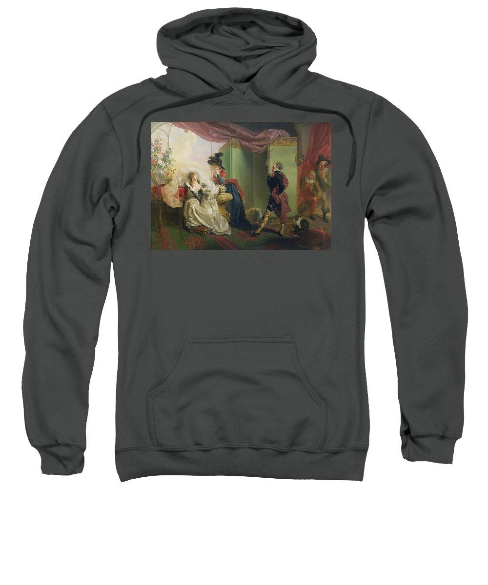 Malvolio Sweatshirt featuring the painting Malvolio Before Olivia - From 'twelfth Night' by Johann Heinrich Ramberg