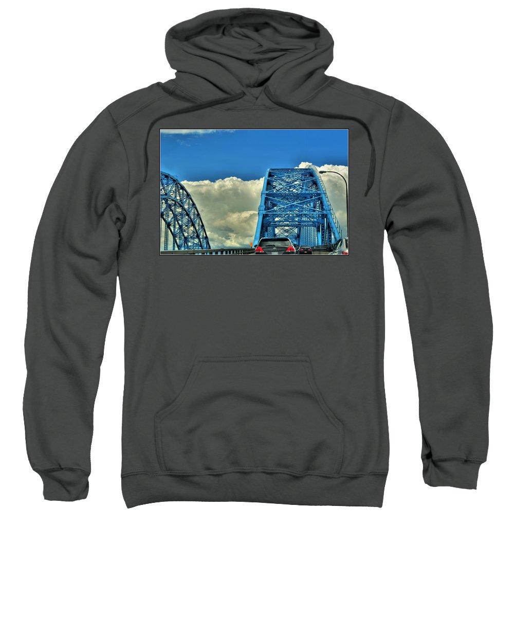 Sweatshirt featuring the photograph 006 Grand Island Bridge Series by Michael Frank Jr