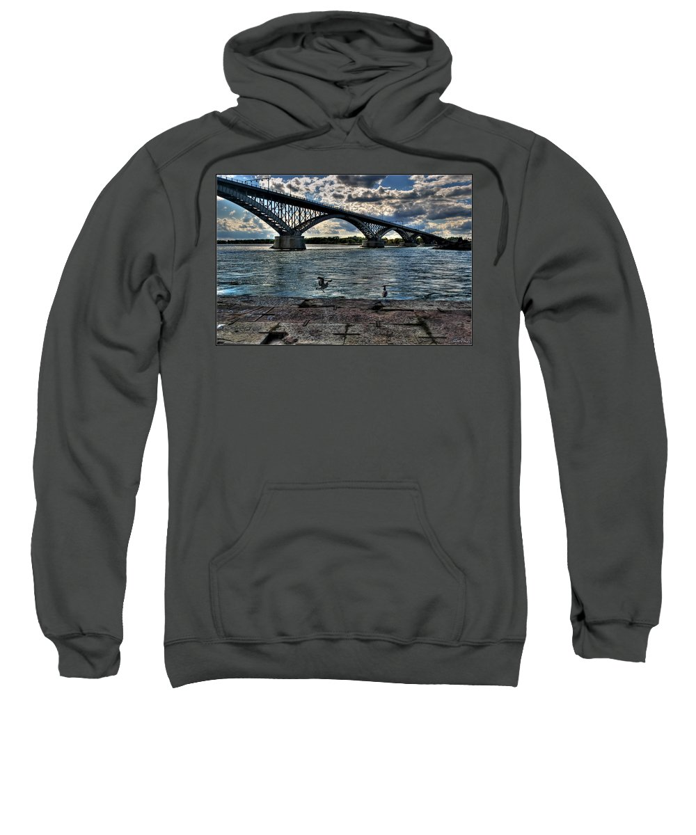 Sweatshirt featuring the photograph 006 Peace Bridge Series II Beautiful Skies by Michael Frank Jr
