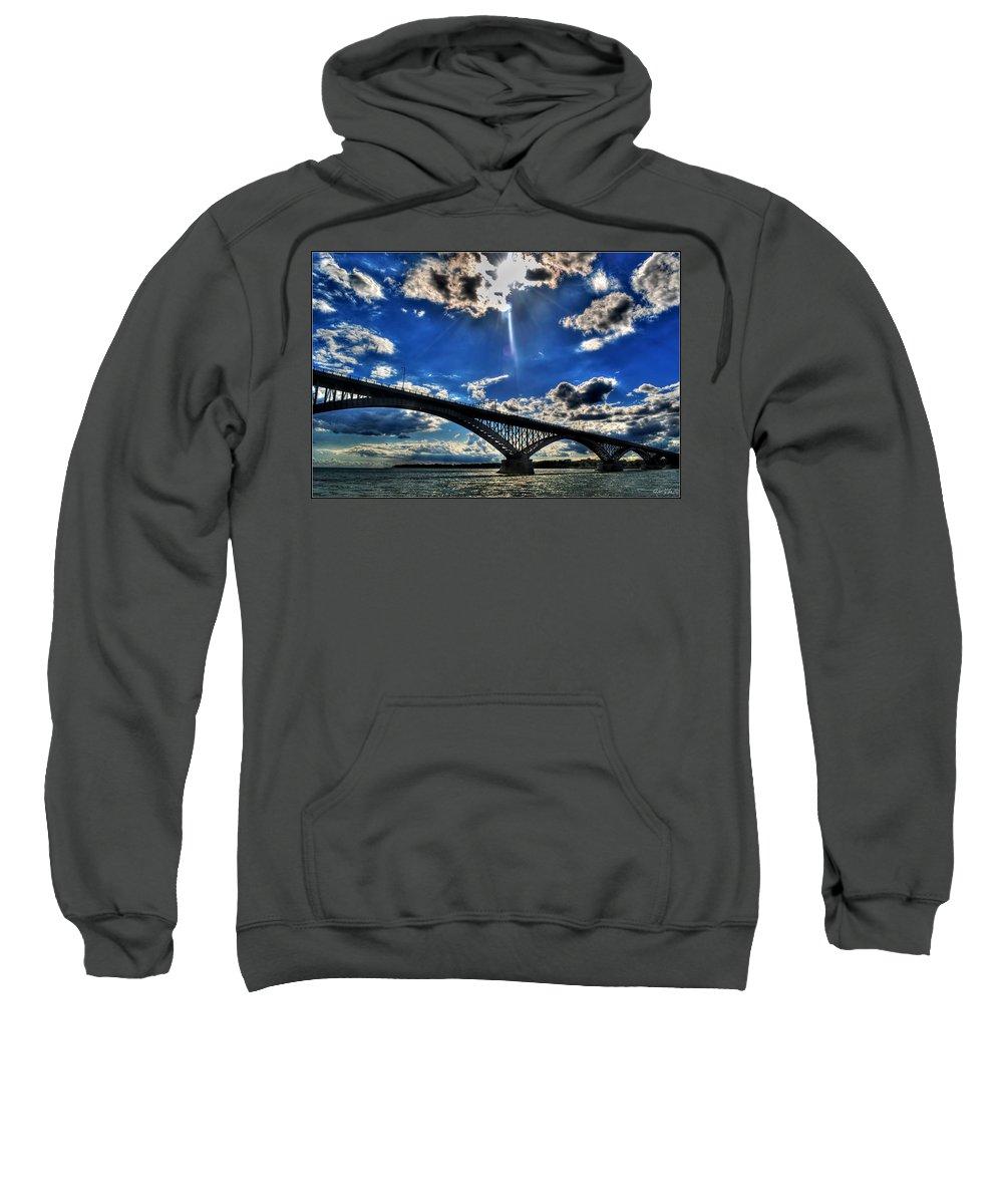 Sweatshirt featuring the photograph 008 Peace Bridge Series II Beautiful Skies by Michael Frank Jr