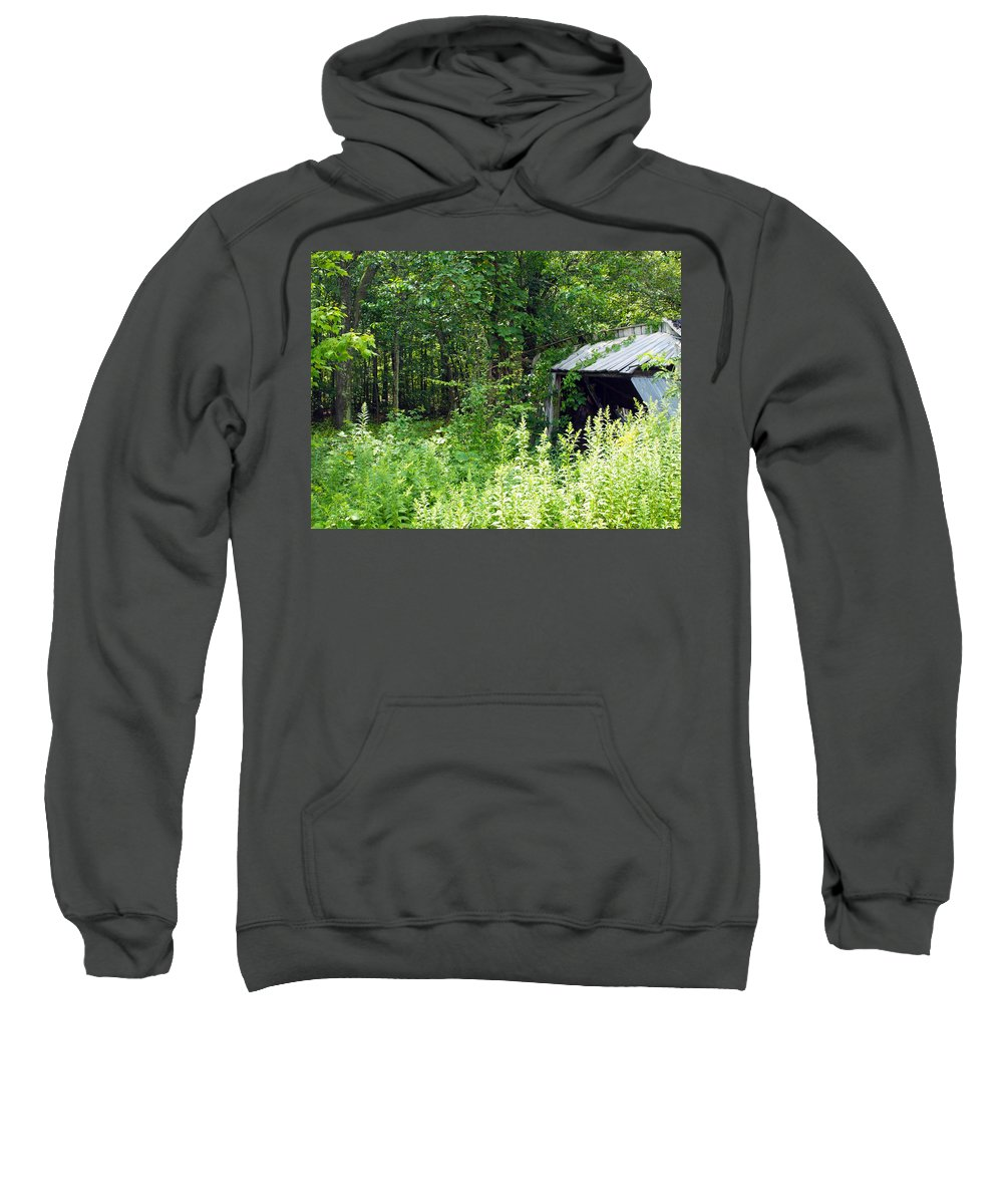 Farm Animals Sweatshirt featuring the photograph A Broken Down Farm Building by Robert Margetts