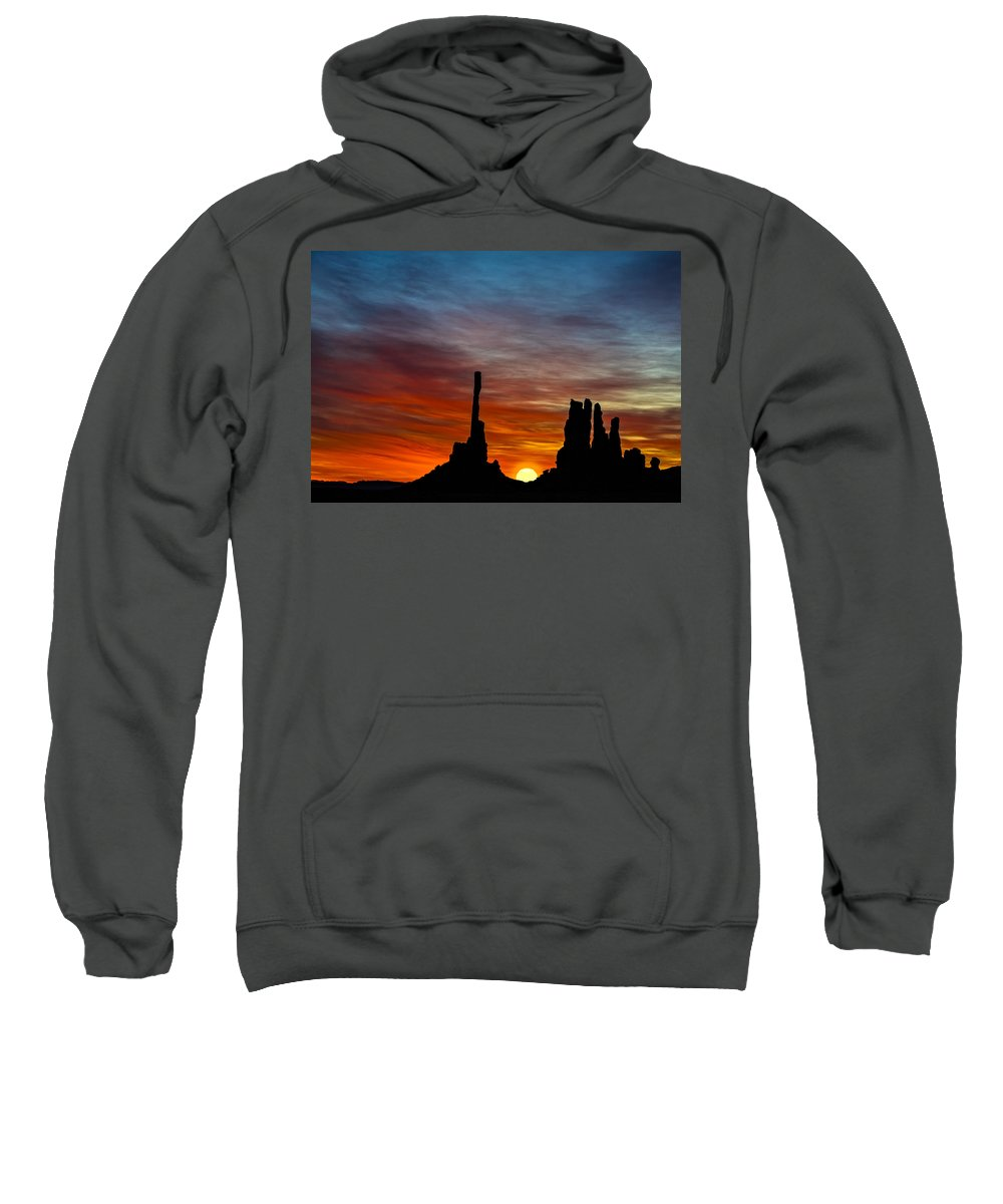 Sunrise Sweatshirt featuring the photograph A New Day At The Totem Poles by Susan Candelario