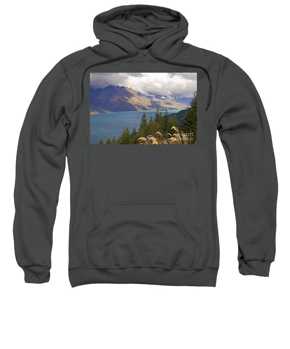 Rain Clouds Sweatshirt featuring the photograph Clouds Over The Mountains by Carole Lloyd