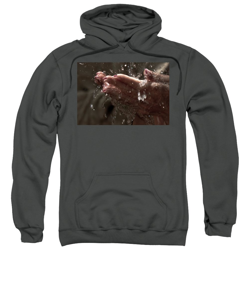 Hands Sweatshirt featuring the photograph Fresh Splash by Jenny Rainbow
