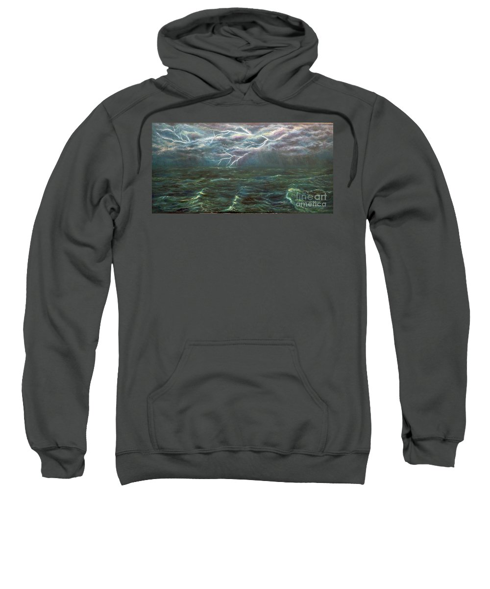 Waves Sweatshirt featuring the painting Let There Be Light by Alina Martinez-beatriz