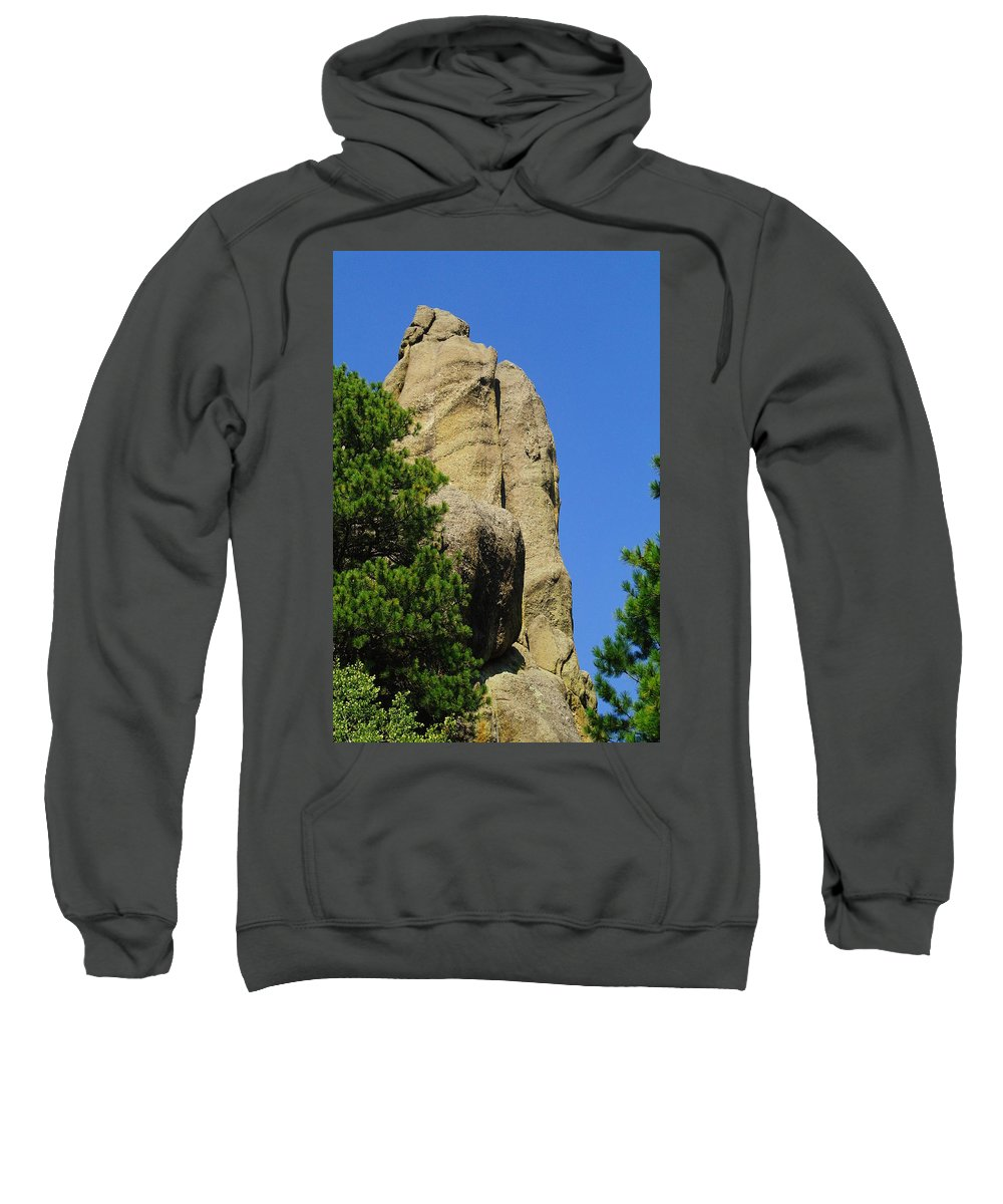 Hills. Rocks Sweatshirt featuring the photograph Mica Rock In The Black Hills by Jeff Swan