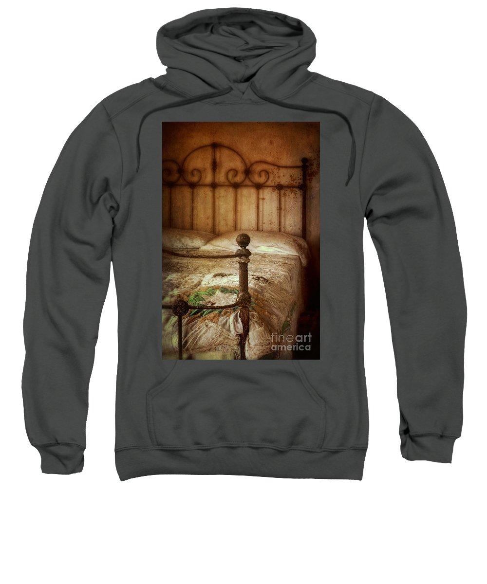 Bed Sweatshirt featuring the photograph Old Iron Bed by Jill Battaglia