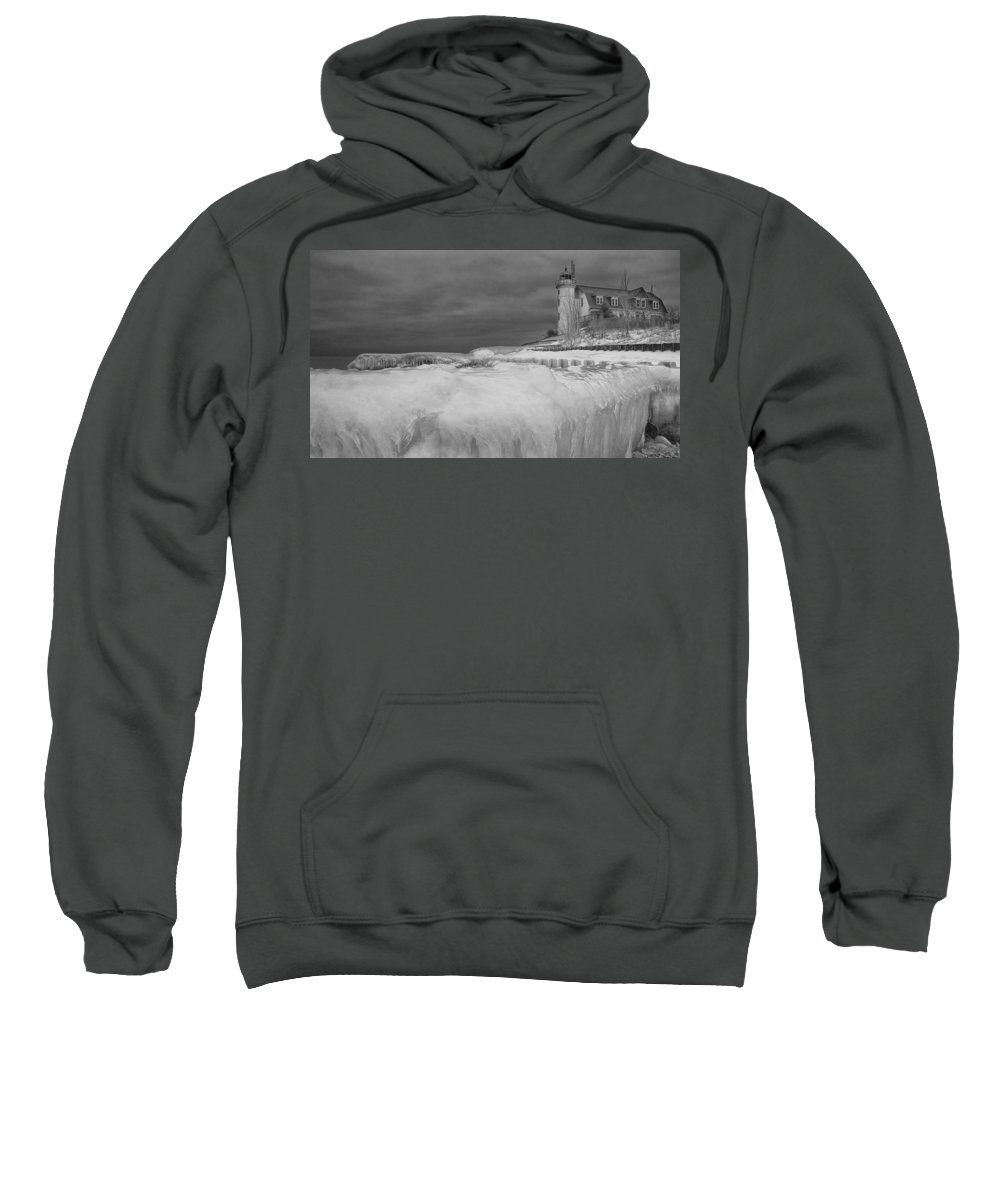 Art Sweatshirt featuring the photograph Point Betsie Lighthouse In Winter by Randall Nyhof