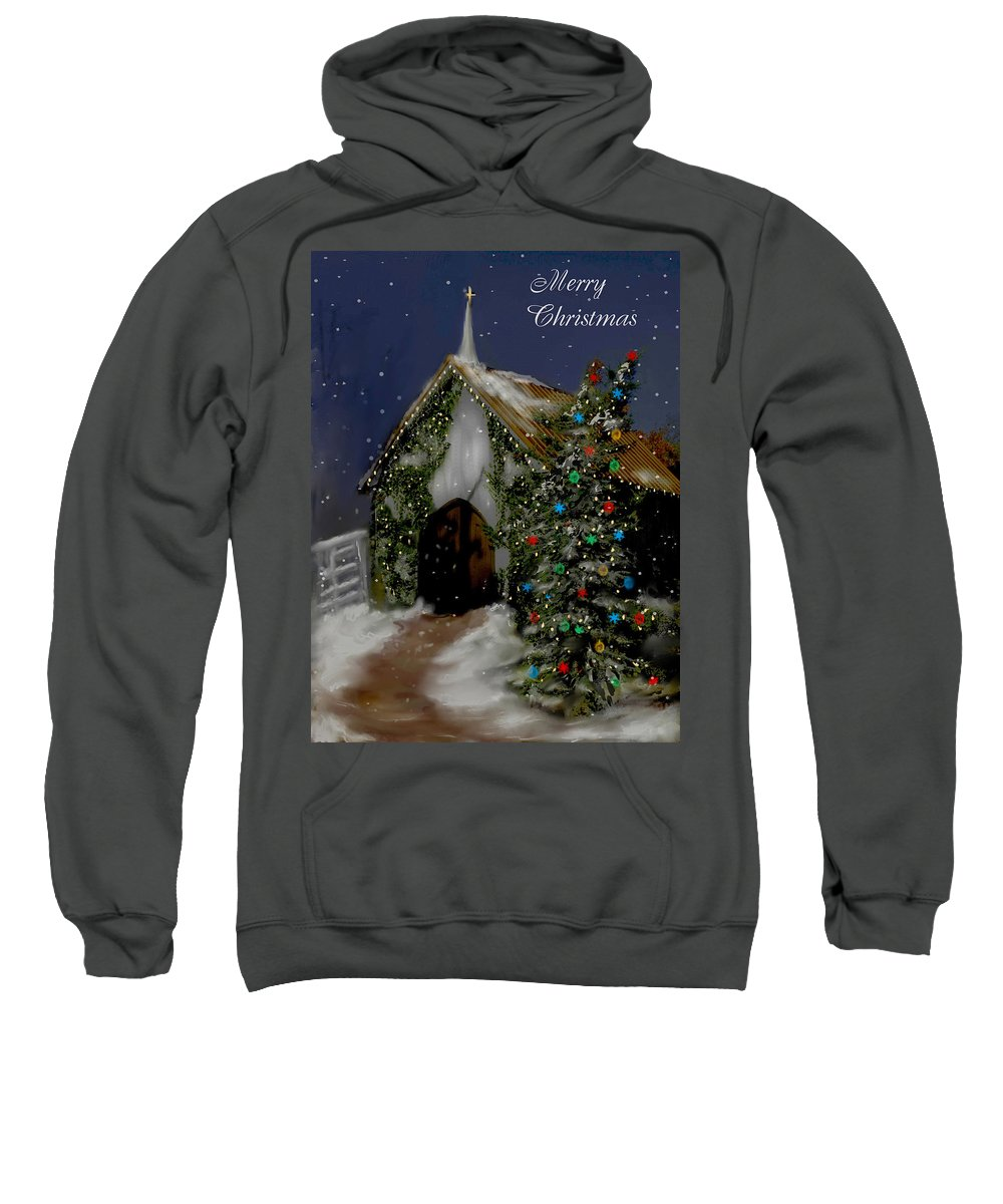 Christmas Trees Sweatshirt featuring the painting Snowy Christmas Eve by Bonnie Willis