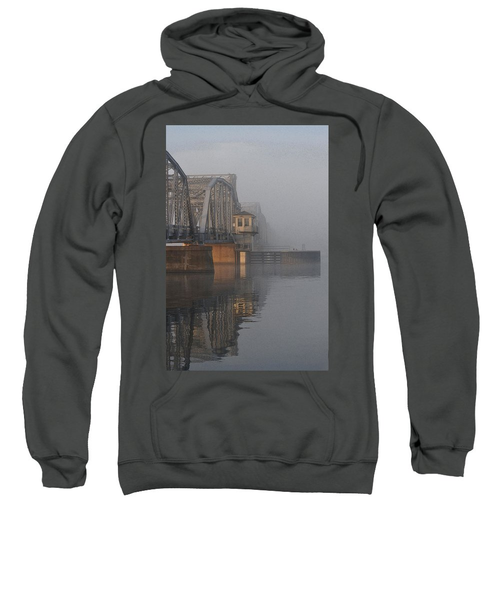 Bridge Sweatshirt featuring the photograph Steel Bridge In Morning Fog by Tim Nyberg