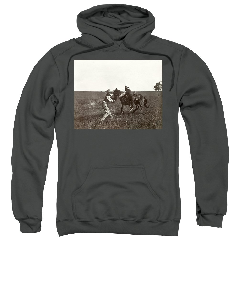 1908 Sweatshirt featuring the photograph Texas: Cowboys, C1908 by Granger