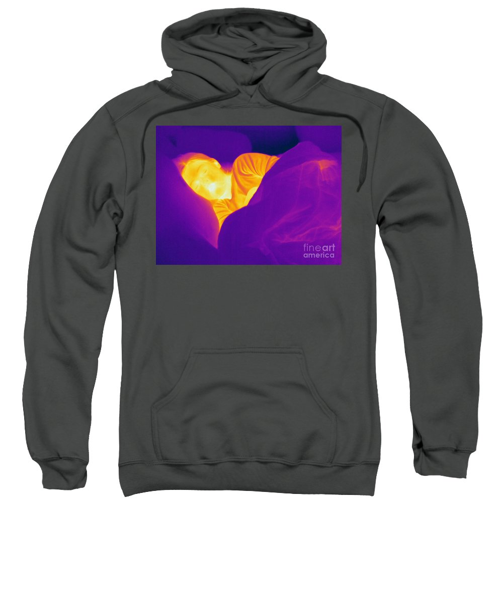 Thermogram Sweatshirt featuring the photograph Thermogram Of A Sleeping Girl by Ted Kinsman