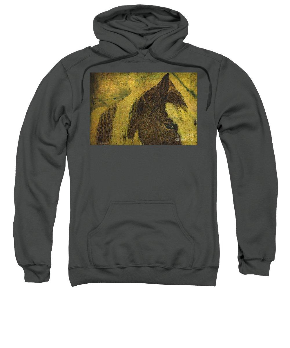 Horse Sweatshirt featuring the photograph Vermont Red Beauty by Deborah Benoit