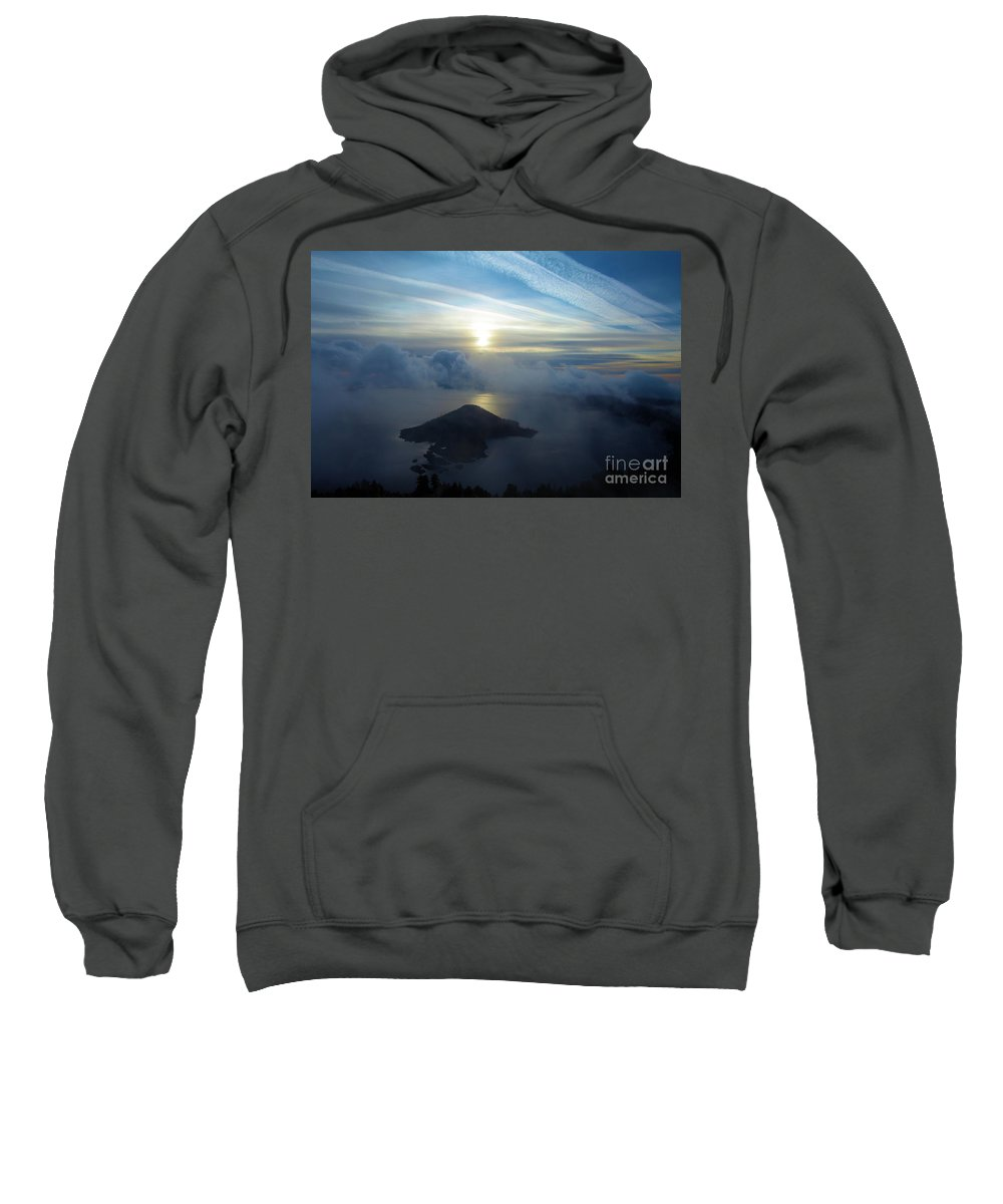 Crater Lake National Park Sweatshirt featuring the photograph Wizard Sunrise by Adam Jewell