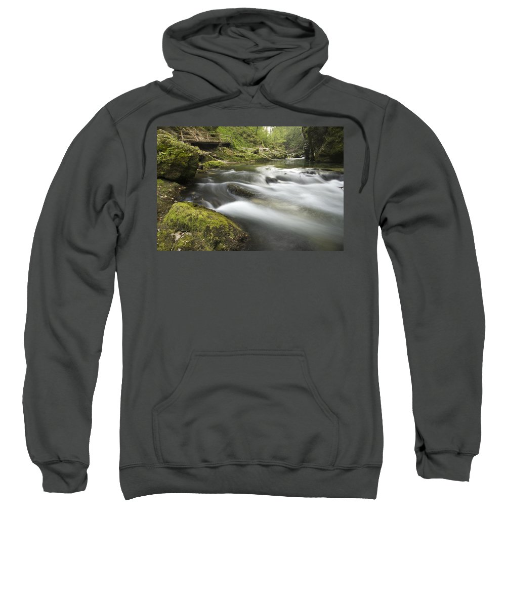 Soteska Sweatshirt featuring the photograph The Soteska Vintgar Gorge by Ian Middleton