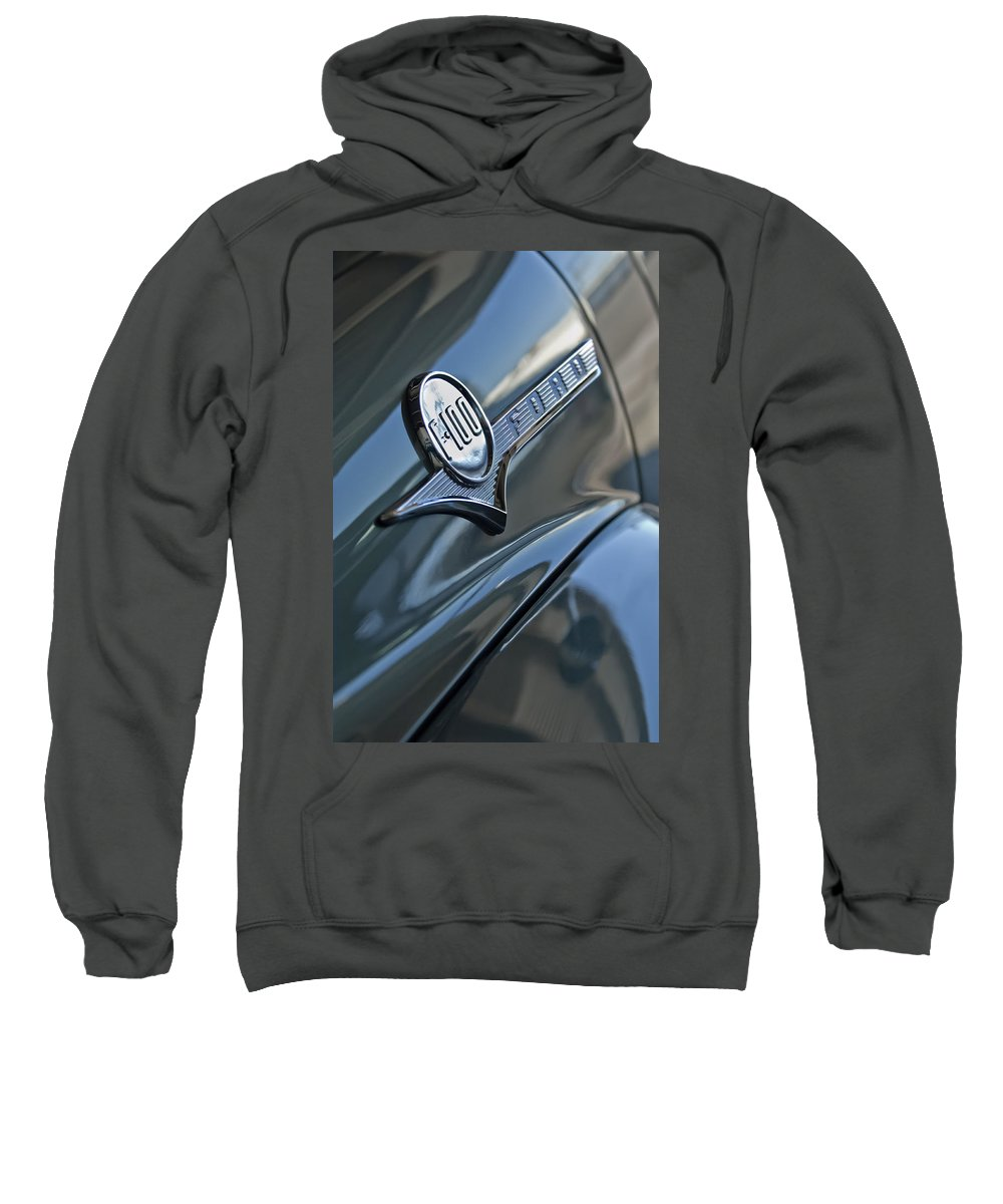 1956 Ford F-100 Truck Sweatshirt featuring the photograph 1956 Ford F-100 Truck Emblem 2 by Jill Reger