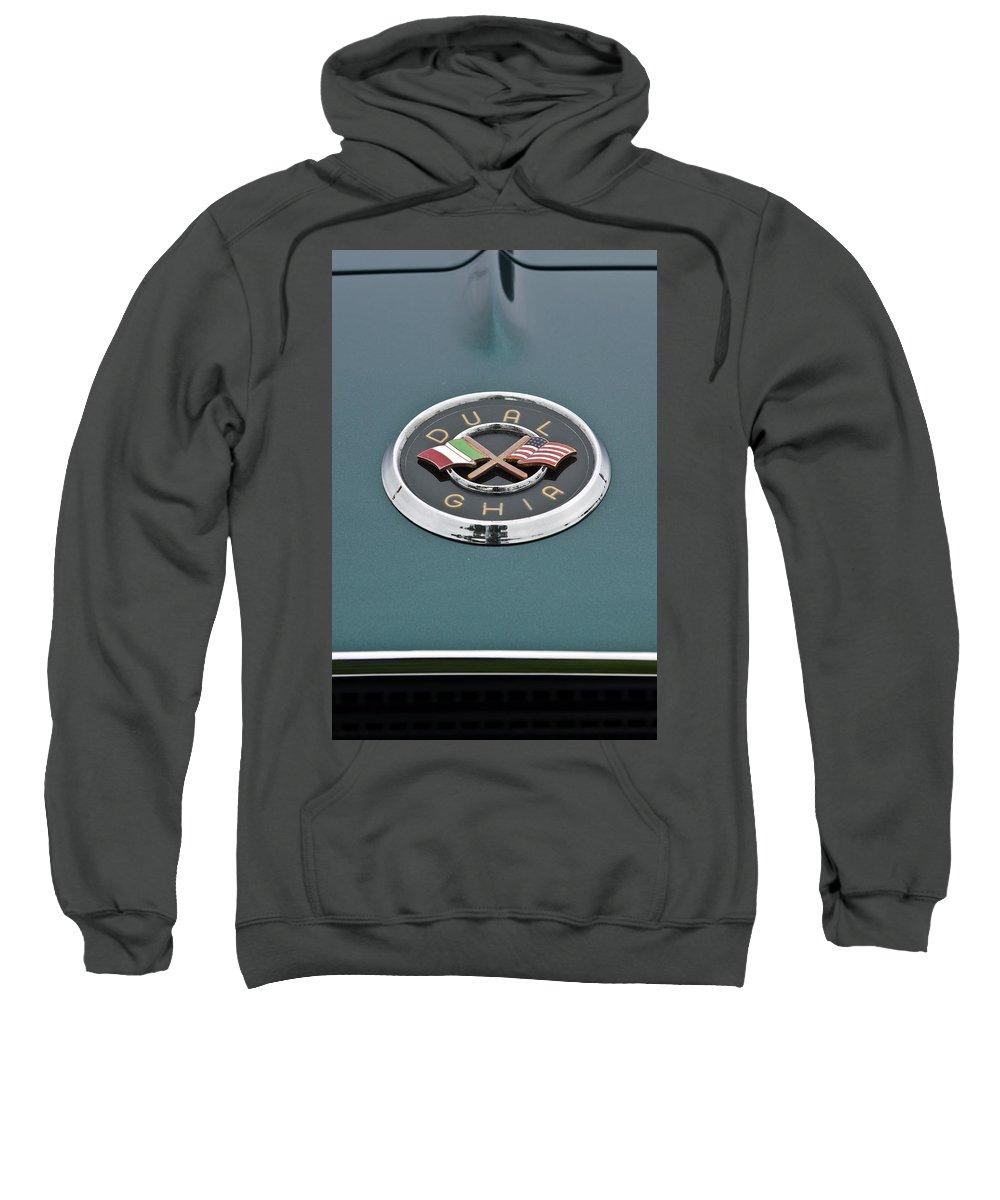 1957 Dual-ghia Convertible Sweatshirt featuring the photograph 1957 Dual-ghia Convertible Emblem by Jill Reger