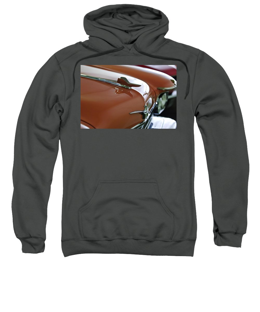 1958 Chrysler Imperial Sweatshirt featuring the photograph 1958 Chrysler Imperial Hood Ornament by Jill Reger
