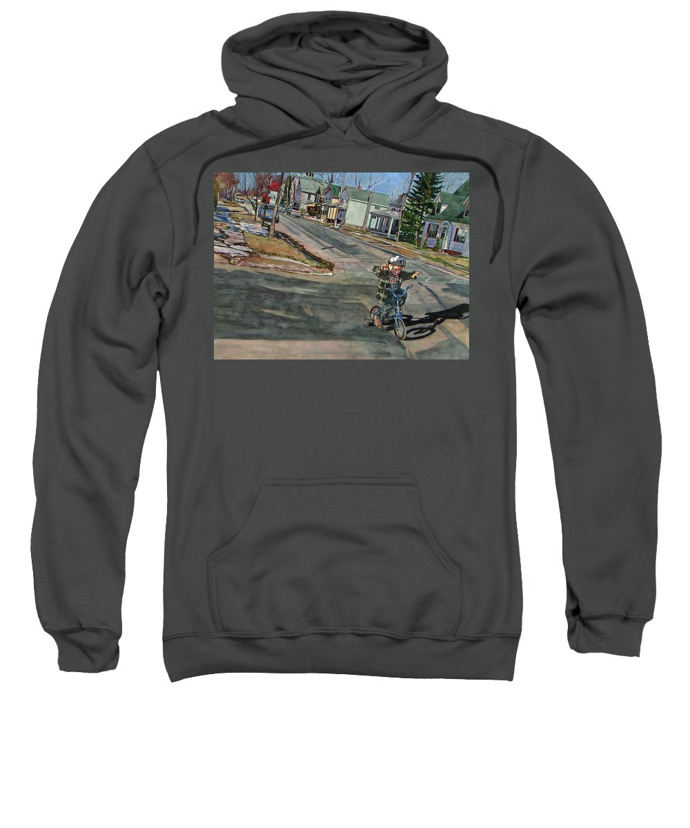 No Hands Sweatshirt featuring the painting No Hands by Valerie Patterson