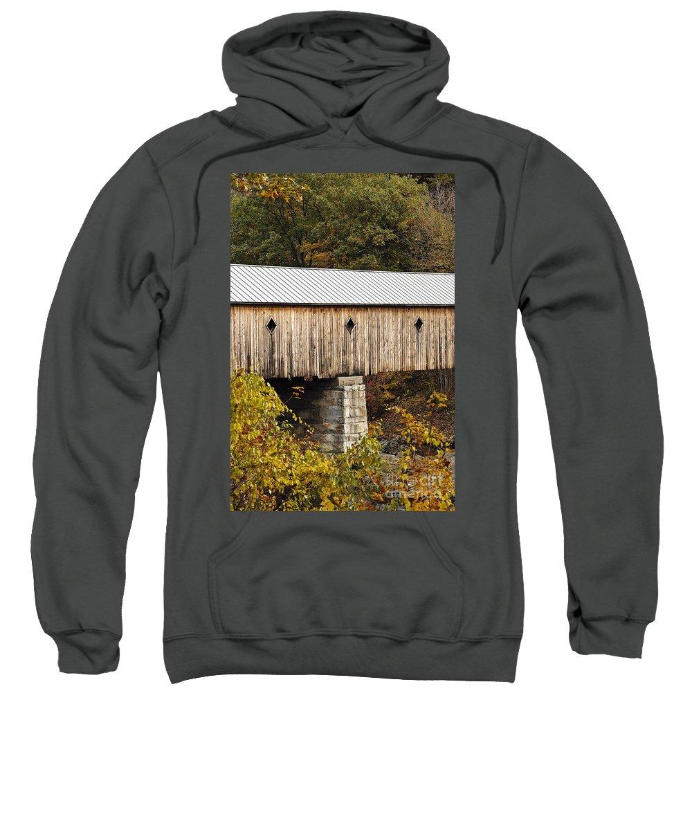 Dummerston Sweatshirt featuring the photograph Vermont Covered Bridge by John Greim