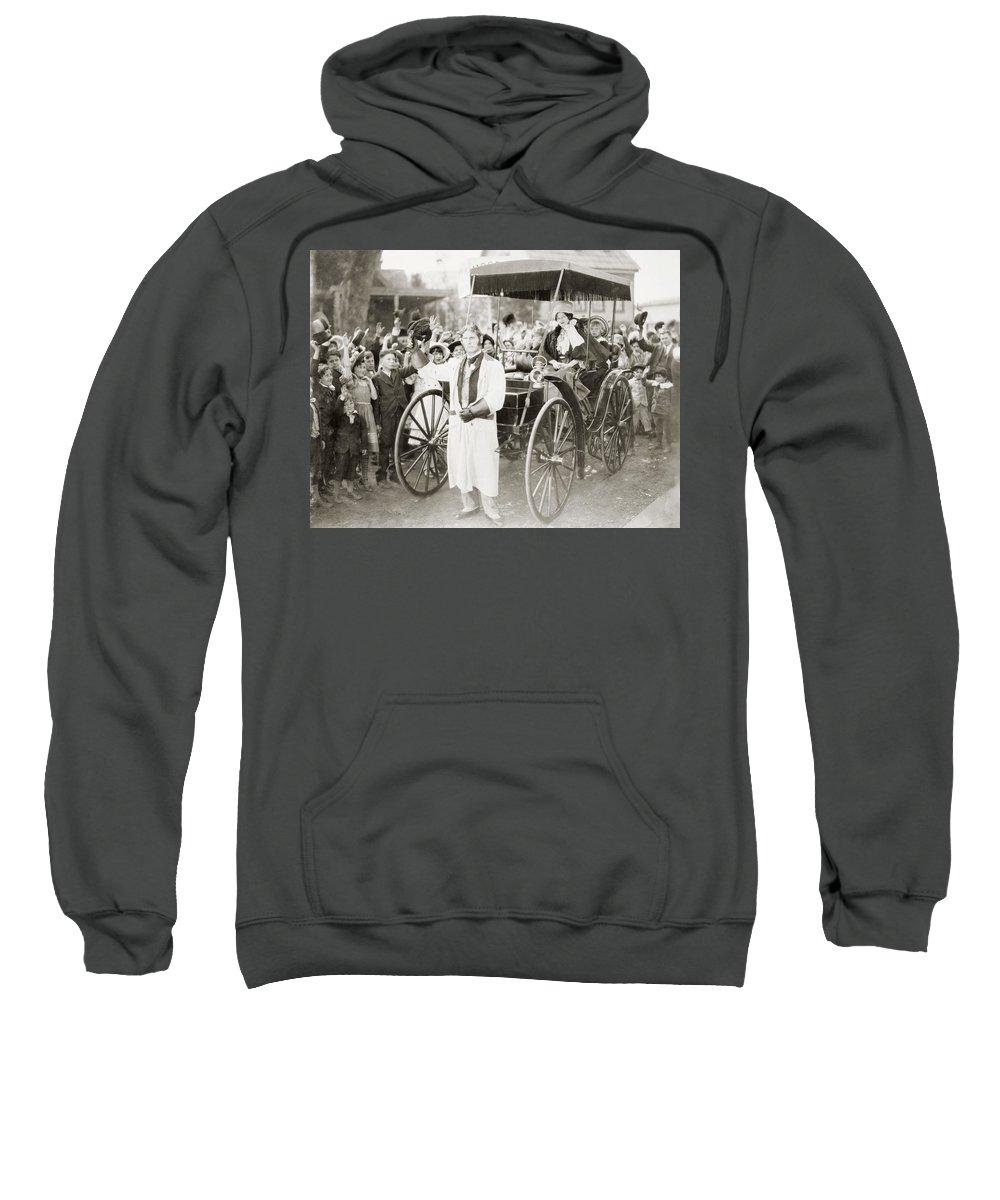 -transportation: Automobiles- Sweatshirt featuring the photograph Silent Film: Automobiles by Granger