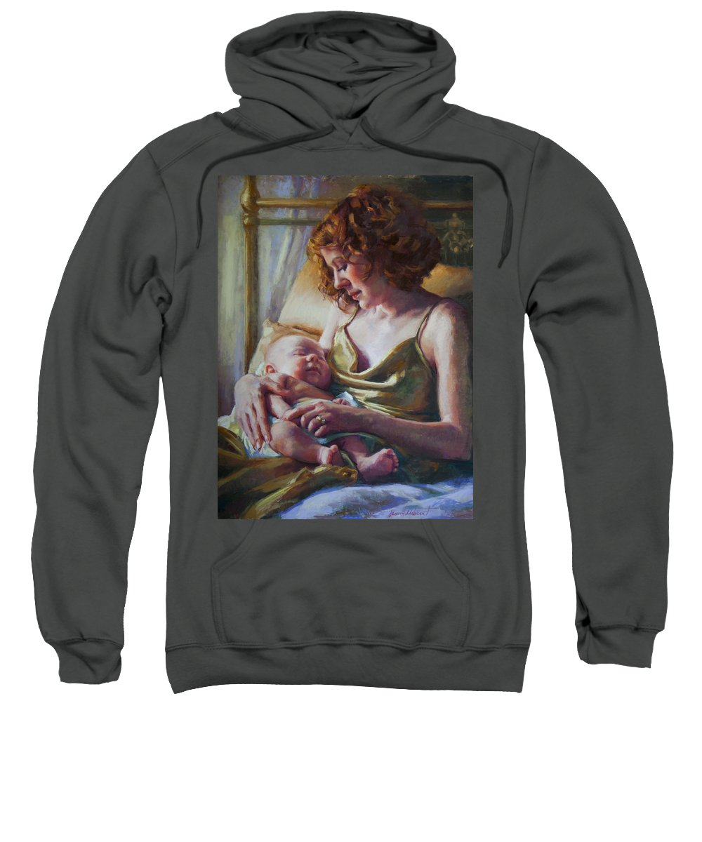 Maternal Sweatshirt featuring the painting Devotion by Jean Hildebrant
