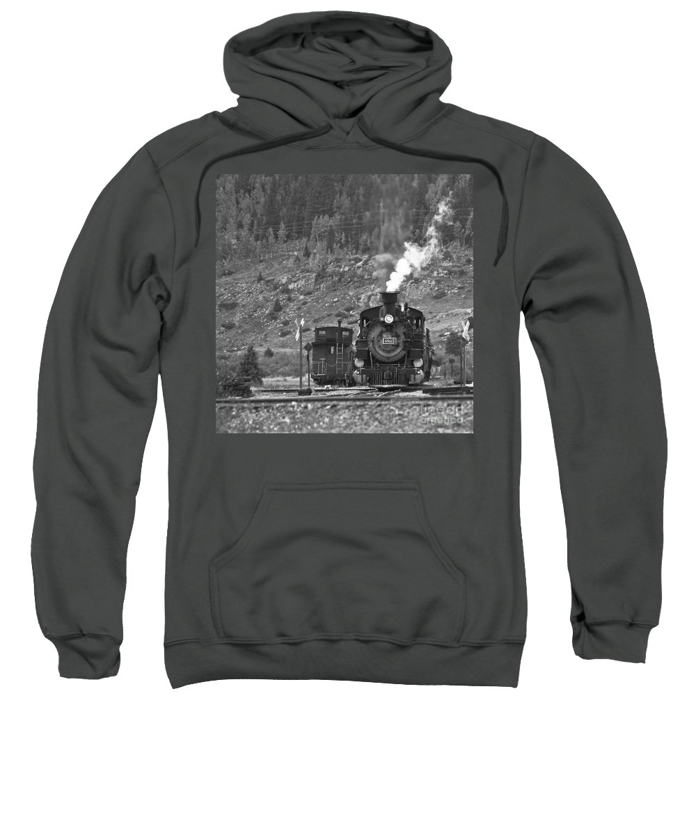 Drgw Sweatshirt featuring the photograph 482 In Silverton - Bw by Tim Mulina