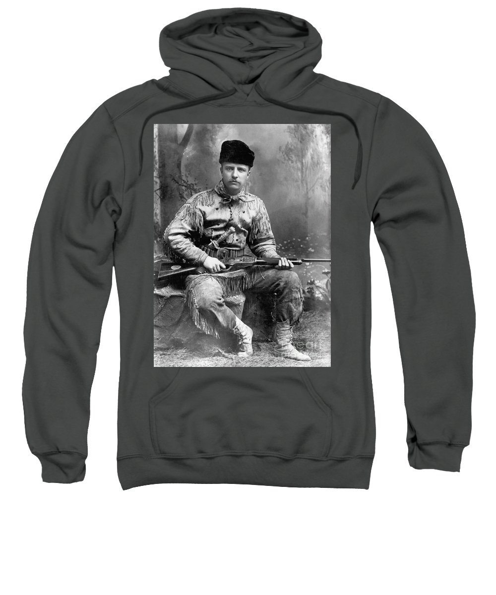 1885 Sweatshirt featuring the photograph Theodore Roosevelt by Granger
