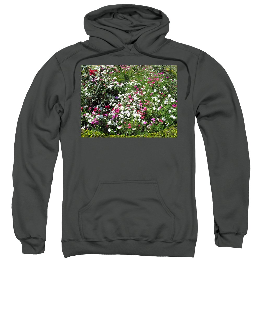 Bed Sweatshirt featuring the photograph A Bed Of Beautiful Different Color Flowers by Ashish Agarwal