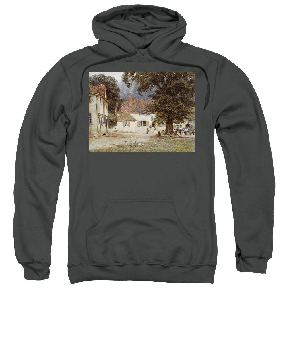Landscape; English; Green; Pub; Public House; Rural; Victorian Sweatshirt featuring the painting A Cart By A Village Inn by Helen Allingham