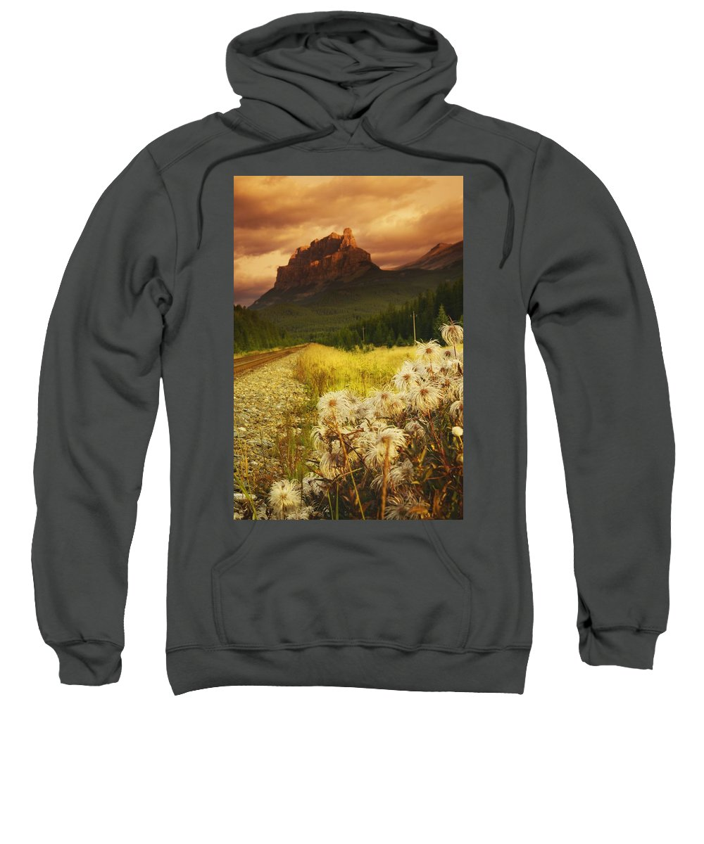Banff Sweatshirt featuring the photograph A Country Road With A Mountain In The by Kelly Redinger