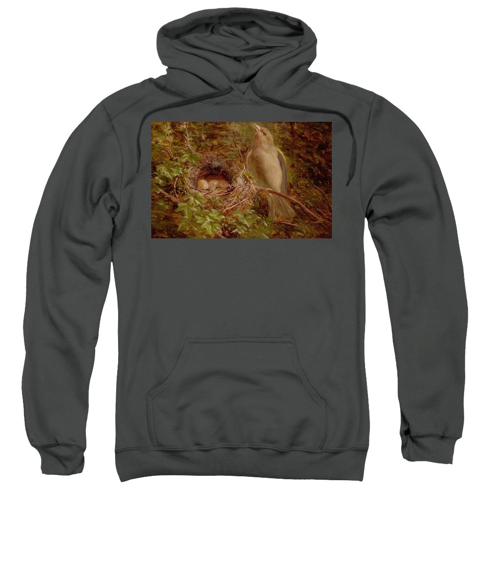 A Greenfinch At Its Nest Sweatshirt featuring the painting A Greenfinch At Its Nest by William Hughes
