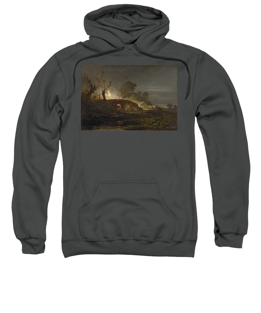 Xyc145616 Sweatshirt featuring the photograph A Lime Kiln At Coalbrookdale by Joseph Mallord William Turner