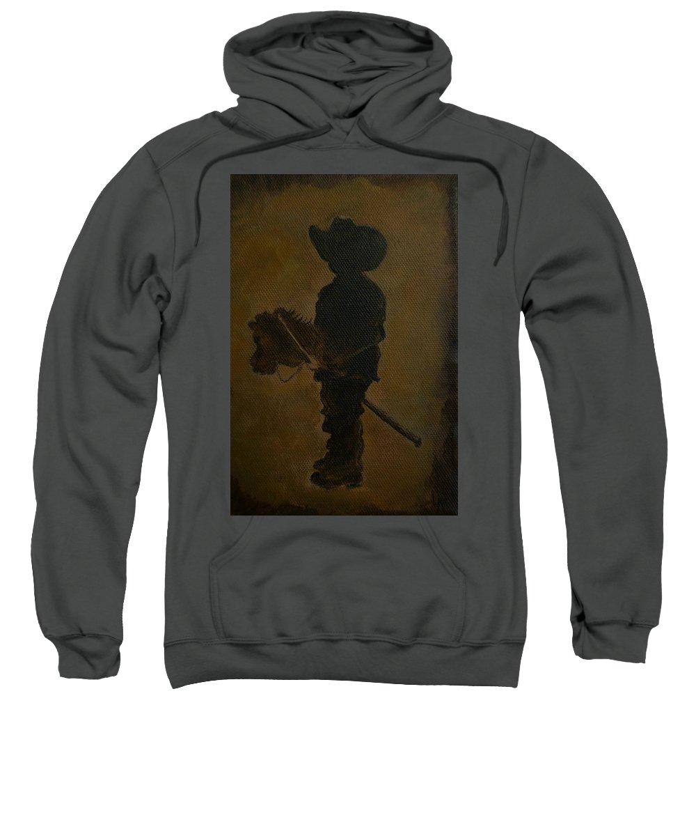Little Boy Painting Sweatshirt featuring the painting A Little Rider by Leslie Allen