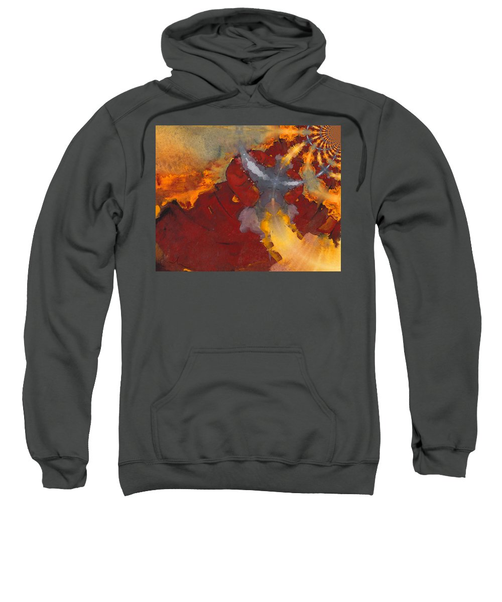 Fractal Art Sweatshirt featuring the painting A Meeting Of Monks by Miki De Goodaboom