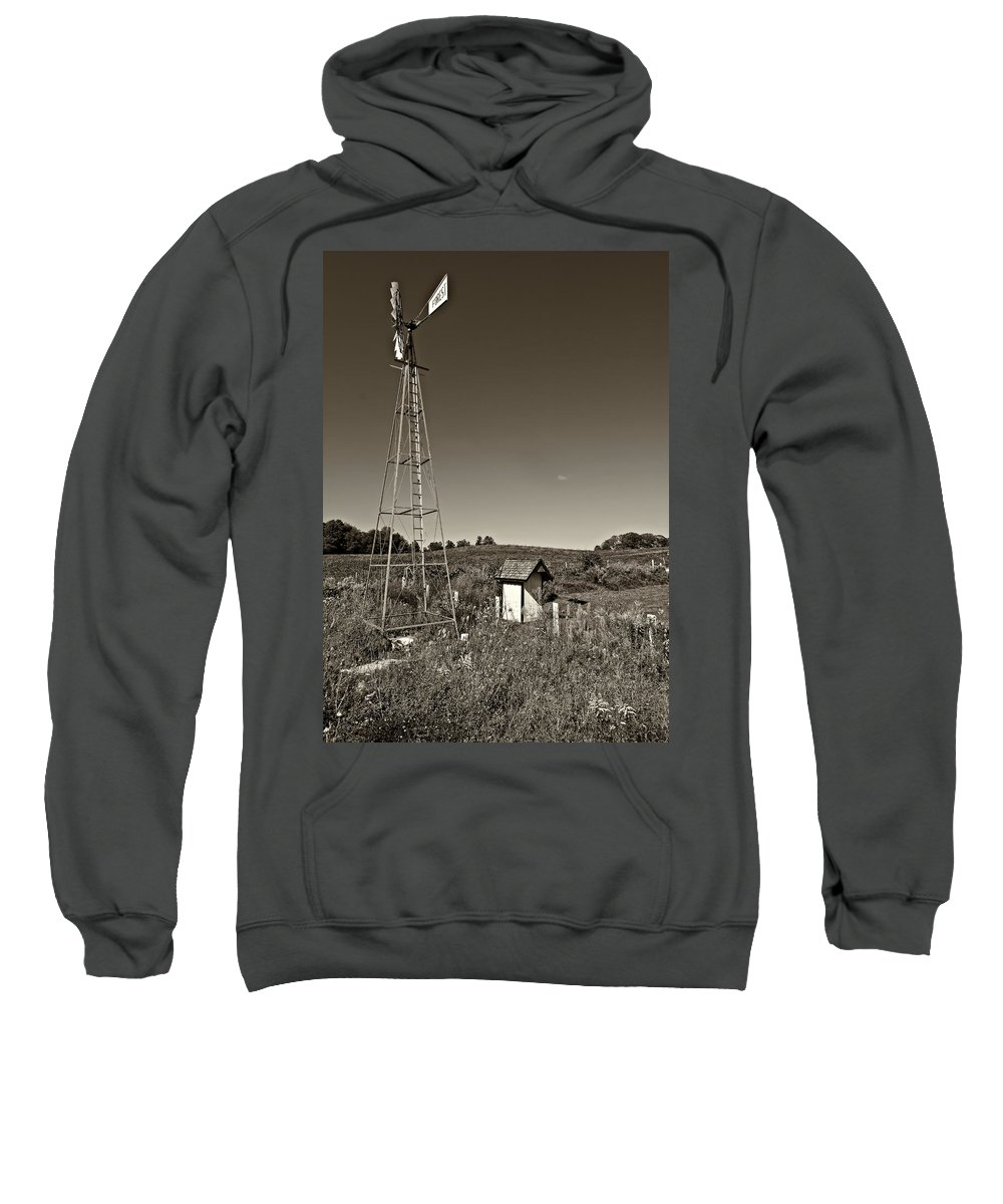 Grey Roots Museum & Archives Sweatshirt featuring the photograph A Moving Memory Monochrome by Steve Harrington