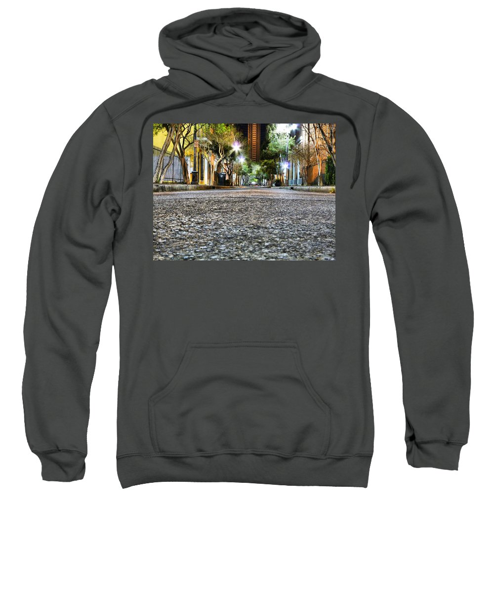 Nighttime Sweatshirt featuring the photograph A Night On The Street by Anthony Walker Sr