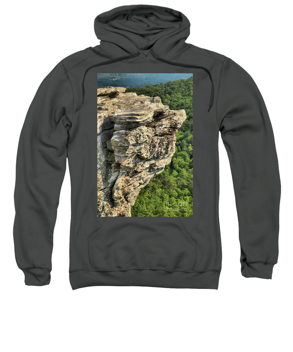 Hanging Rock State Park Sweatshirt featuring the photograph A Rocky Grin by Adam Jewell